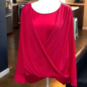 Calvin Klein Hot Pink High Low blouse